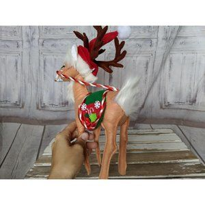 Annalee Holiday - Annalee 2007 Candy Cane Peppermint Reindeer Doll A